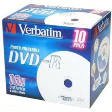 DVD-R Verbatim 4,7GB printable (10ks) Jewel