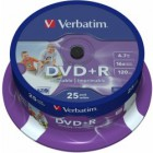 DVD+R Verbatim 4,7GB 8x Printable spindl (25ks)