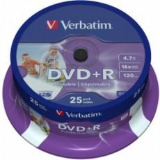 DVD+R Verbatim 4,7GB 8x Printable spindl (25ks)